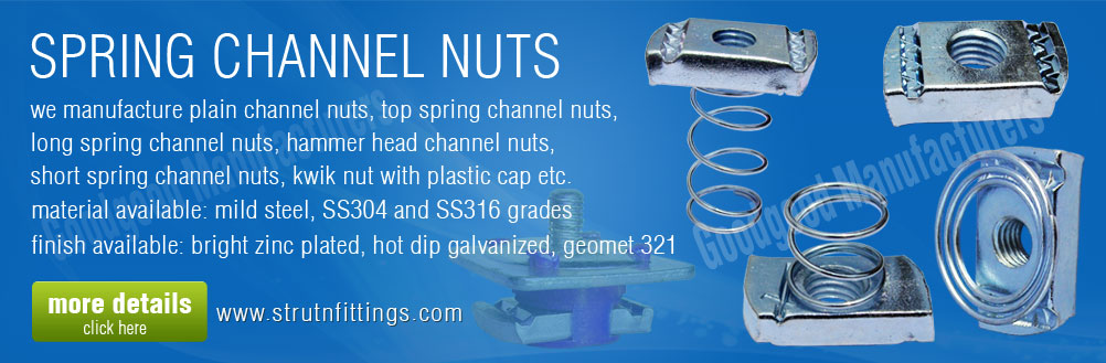 strut spring channel nuts - kwick nuts - long spring channel nuts manufacturers and exporters from india punjab ludhiana