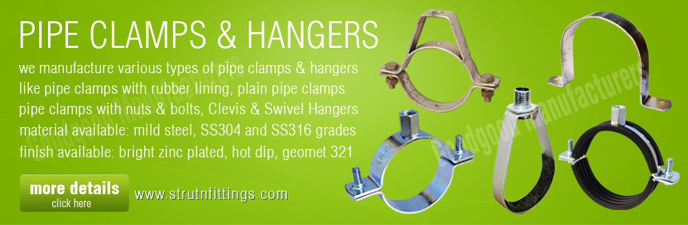 pipe clamps - strut pipe clamp - clevis hangers - ring hangers - swivel hangers manufacturers exporters from india punjab ludhiana