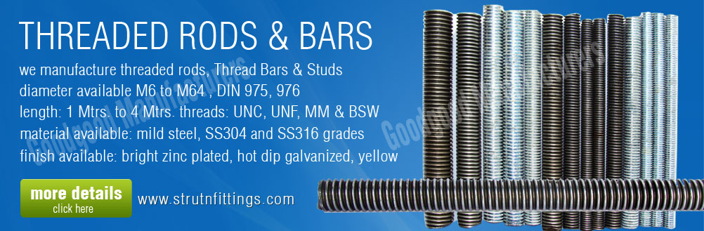 threaded rods - thread bars - unc unf bsw thread rods - threaded studs manufacturers exporters from india punjab ludhiana